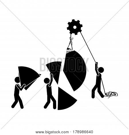 black silhouette pictogram with construction workers vector illustration