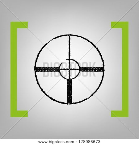 Sight sign illustration. Vector. Black scribble icon in citron brackets on grayish background.