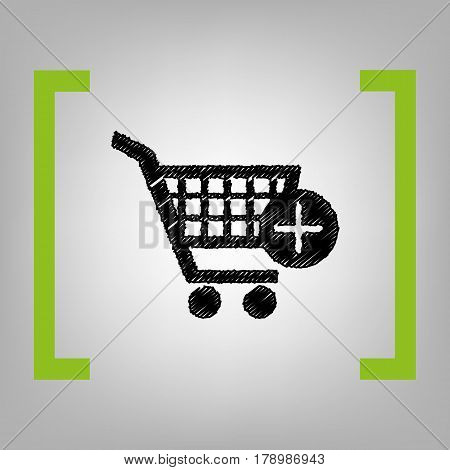 Shopping Cart with add Mark sign. Vector. Black scribble icon in citron brackets on grayish background.