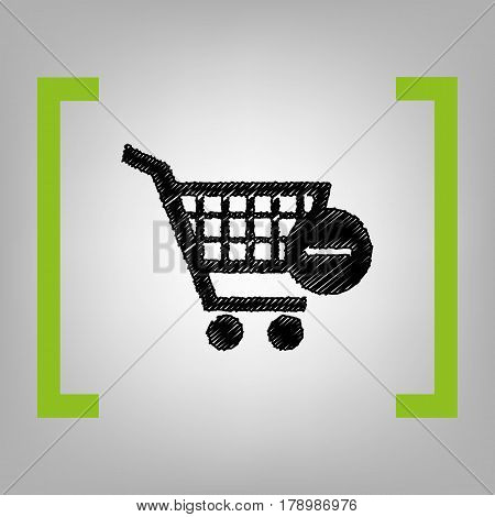 Vector Shopping Cart with Remove sign. Vector. Black scribble icon in citron brackets on grayish background.