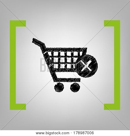 Shopping Cart with delete sign. Vector. Black scribble icon in citron brackets on grayish background.