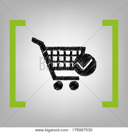 Shopping Cart with Check Mark sign. Vector. Black scribble icon in citron brackets on grayish background.