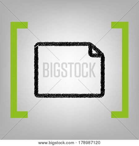 Horisontal document sign illustration. Vector. Black scribble icon in citron brackets on grayish background.