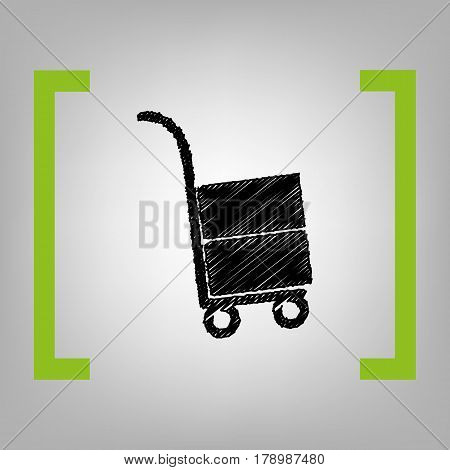 Hand truck sign. Vector. Black scribble icon in citron brackets on grayish background.