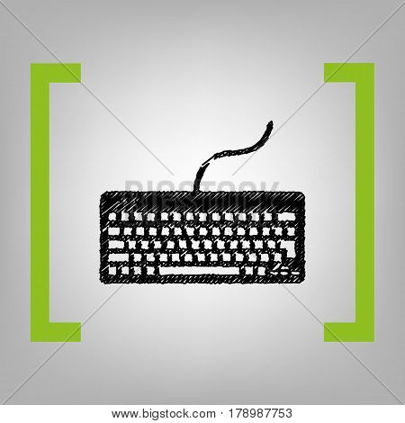 Keyboard simple sign. Vector. Black scribble icon in citron brackets on grayish background.