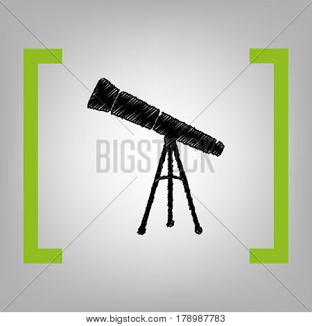 Telescope simple sign. Vector. Black scribble icon in citron brackets on grayish background.