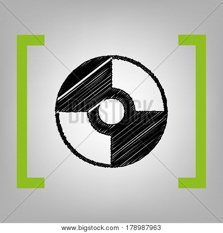 Vector CD or DVD sign. Vector. Black scribble icon in citron brackets on grayish background.
