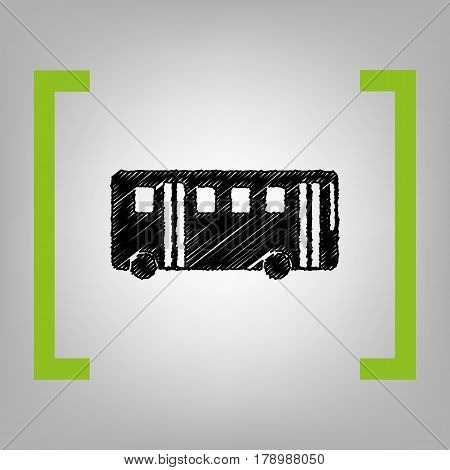 Bus simple sign. Vector. Black scribble icon in citron brackets on grayish background.