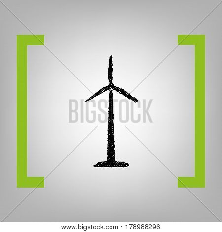 Wind turbine logo or sign. Vector. Black scribble icon in citron brackets on grayish background.