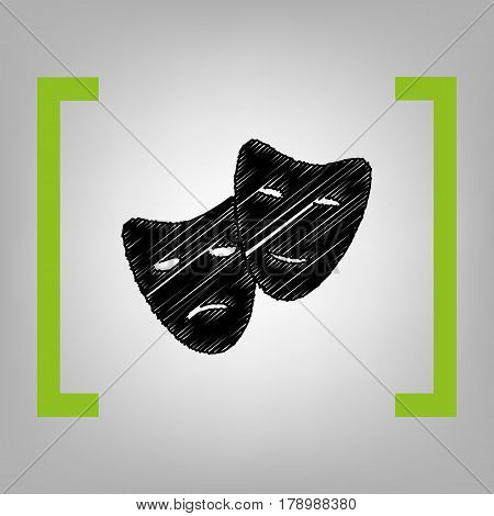 Theater icon with happy and sad masks. Vector. Black scribble icon in citron brackets on grayish background.