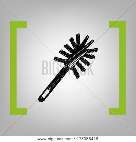 Toilet brush doodle. Vector. Black scribble icon in citron brackets on grayish background.