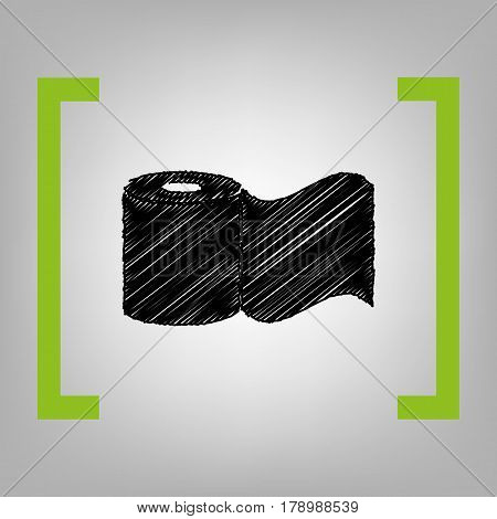Toilet Paper sign. Vector. Black scribble icon in citron brackets on grayish background.
