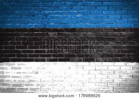 Estonia flag , Estonia flag on wall texture background