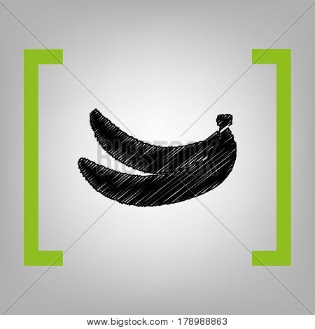 Banana simple sign. Vector. Black scribble icon in citron brackets on grayish background.