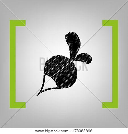 Radish simple sign. Vector. Black scribble icon in citron brackets on grayish background.