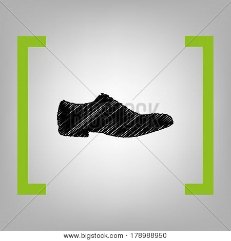 Men Shoes sign. Vector. Black scribble icon in citron brackets on grayish background.