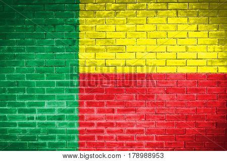 Benin flag  , Benin flag on wall texture background