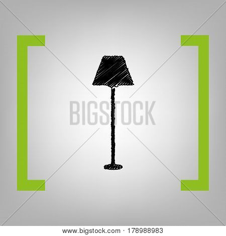 Lamp simple sign. Vector. Black scribble icon in citron brackets on grayish background.