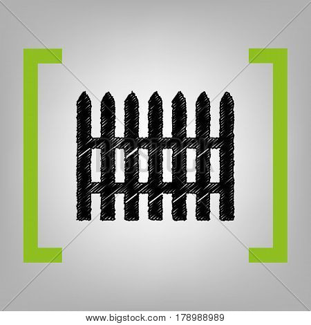 Fence simple sign. Vector. Black scribble icon in citron brackets on grayish background.