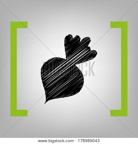 Beet simple sign. Vector. Black scribble icon in citron brackets on grayish background.