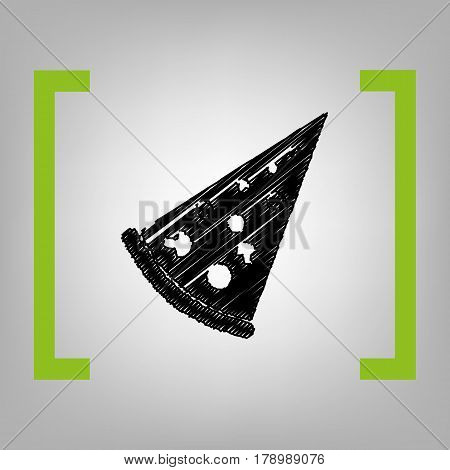 Pizza simple sign. Vector. Black scribble icon in citron brackets on grayish background.