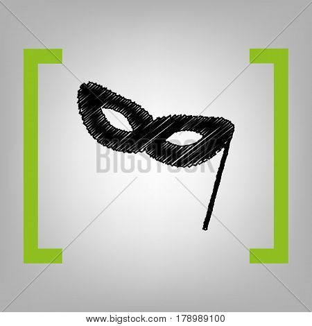 Traditional Venetian Carnival Decorative mask sign. Vector. Black scribble icon in citron brackets on grayish background.