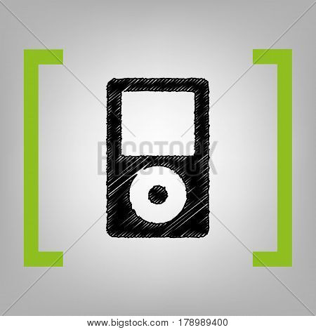 Portable music device. Vector. Black scribble icon in citron brackets on grayish background.