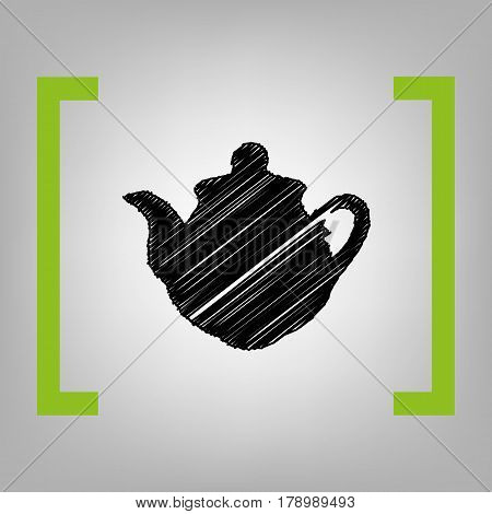 Tea maker sign. Vector. Black scribble icon in citron brackets on grayish background.