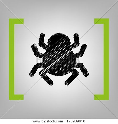 Spider sign illustration. Vector. Black scribble icon in citron brackets on grayish background.