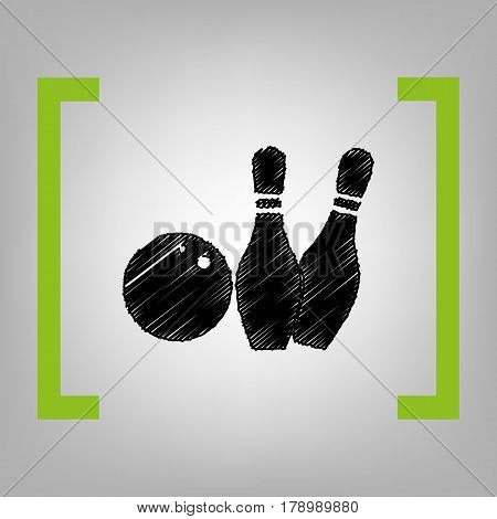 Bowling sign illustration. Vector. Black scribble icon in citron brackets on grayish background.