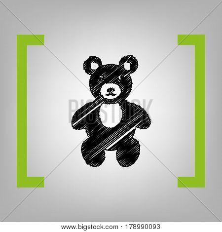 Teddy bear sign illustration. Vector. Black scribble icon in citron brackets on grayish background.