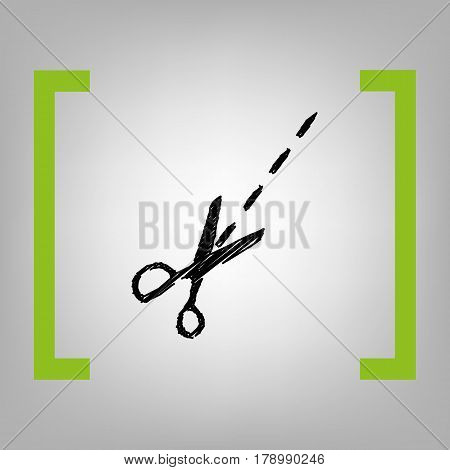 Scissors sign illustration. Vector. Black scribble icon in citron brackets on grayish background.
