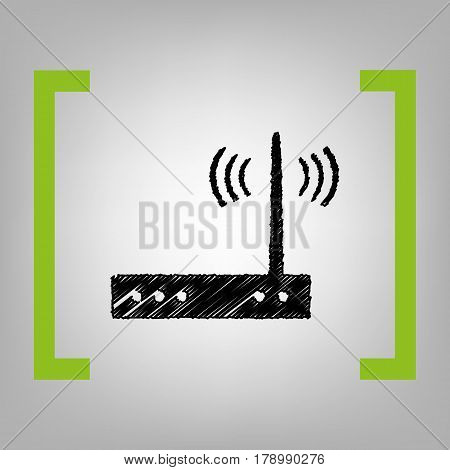 Wifi modem sign. Vector. Black scribble icon in citron brackets on grayish background.