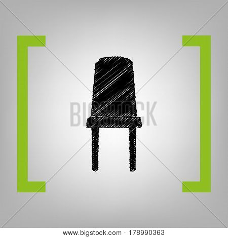 Office chair sign. Vector. Black scribble icon in citron brackets on grayish background.