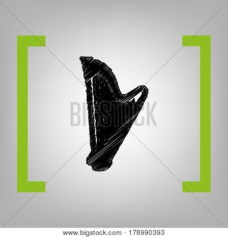 Musical instrument harp sign. Vector. Black scribble icon in citron brackets on grayish background.