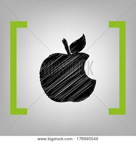Bite apple sign. Vector. Black scribble icon in citron brackets on grayish background.