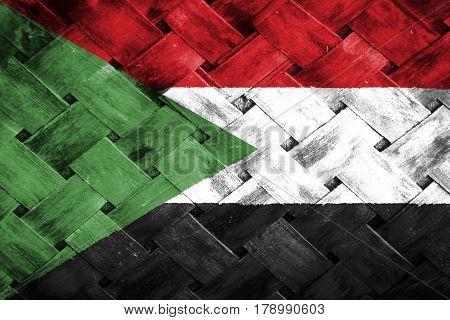 Sudan flag , Sudan flag on Weave Bamboo