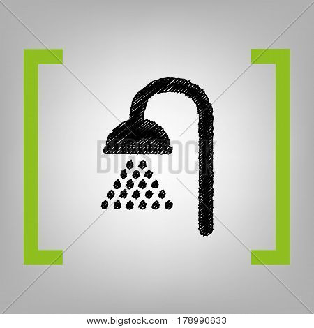 Shower sign. Vector. Black scribble icon in citron brackets on grayish background.