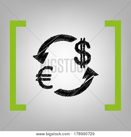 Currency exchange sign. Euro and Dollar. Vector. Black scribble icon in citron brackets on grayish background.