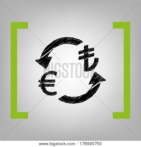 Currency exchange sign. Euro and Turkey Lira. Vector. Black scribble icon in citron brackets on grayish background.