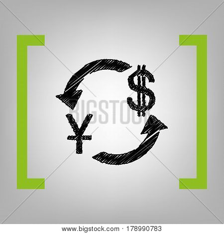 Currency exchange sign. China Yuan and US Dollar. Vector. Black scribble icon in citron brackets on grayish background.
