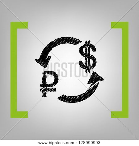 Currency exchange sign. Rouble and US Dollar Vector. Black scribble icon in citron brackets on grayish background.