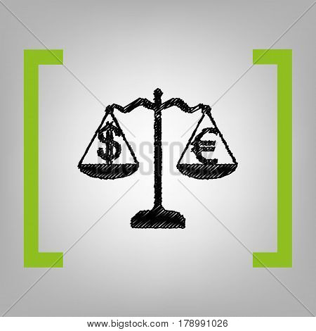Justice scales with currency exchange sign. Vector. Black scribble icon in citron brackets on grayish background.