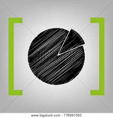Finance graph sign. Vector. Black scribble icon in citron brackets on grayish background.