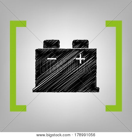 Car battery sign. Vector. Black scribble icon in citron brackets on grayish background.