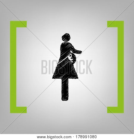 Women and baby sign. Vector. Black scribble icon in citron brackets on grayish background.