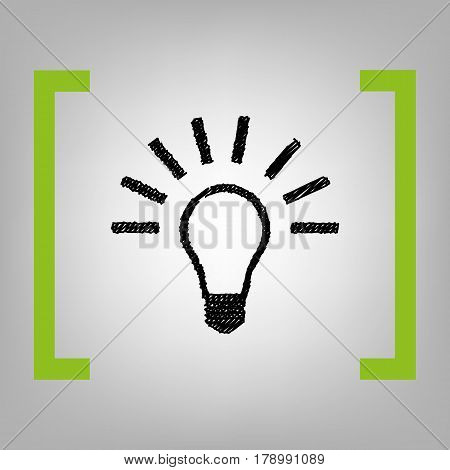 Light lamp sign. Vector. Black scribble icon in citron brackets on grayish background.