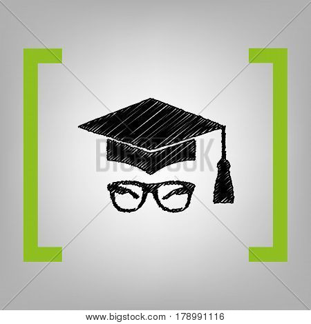 Mortar Board or Graduation Cap with glass. Vector. Black scribble icon in citron brackets on grayish background.