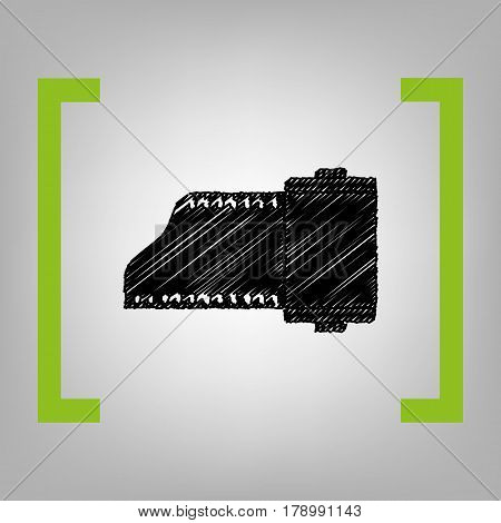 Foto camera casset sign. Vector. Black scribble icon in citron brackets on grayish background.