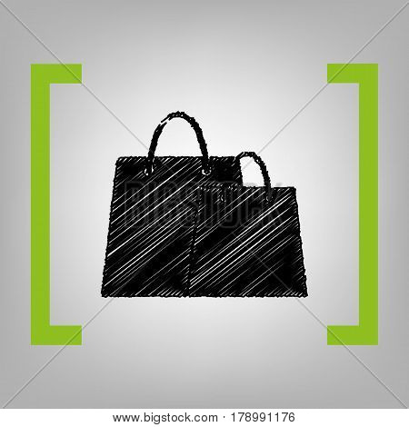 Shopping bags sign. Vector. Black scribble icon in citron brackets on grayish background.